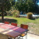 terrasse abritée planche jardin piscine chauffée coin repas dordogne vacance astier perigueux bordeaux